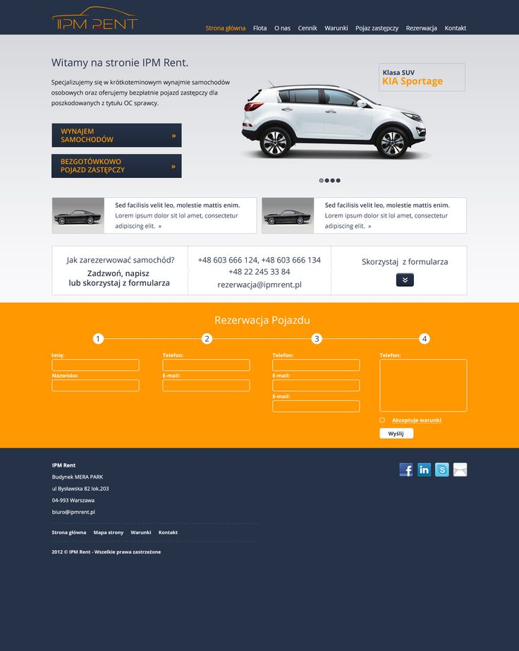 Projekt strony WWW dla firmy IPM Rent. Ostateczna wersja.