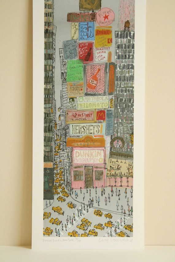 * * 25% off * * Sale price £97.50 (Normal price £130) * * DUNKIN DONUTS NEW YORK Signed limited edition giclee print by artist & printmaker Clare Caulfield.  • Signed and titled Dunkin Donuts New York in pencil on the front of the print just underneath the image • Archival quality giclee print taken from my original mixed media painting  • Signed, titled Dunkin Donuts New York and editioned along the bottom edge beneath the image. (Randomly numbered out of the edition size of 150 copies)  •…