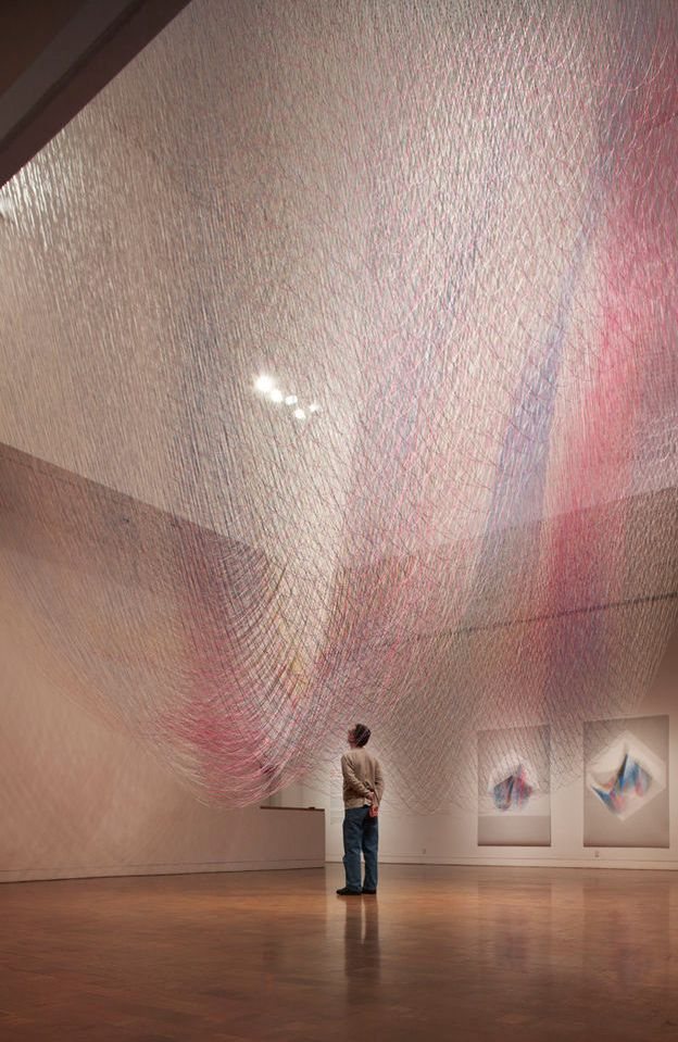 3,604 individual lengths of cut and color saturated twine, collectively totaling a length of 21 miles!: Feathered Edge, Inspiration, Studios, Contemporary Art, Art Installations, Installation Art, Space