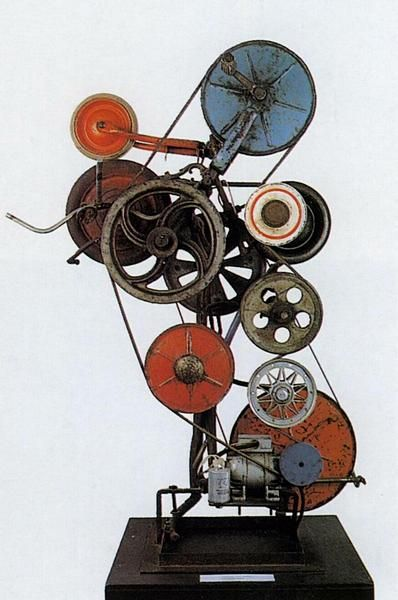 jean tinguely kinetic sculpture in his workhe want to represent the movement: becase movemnte for him is part of daily life