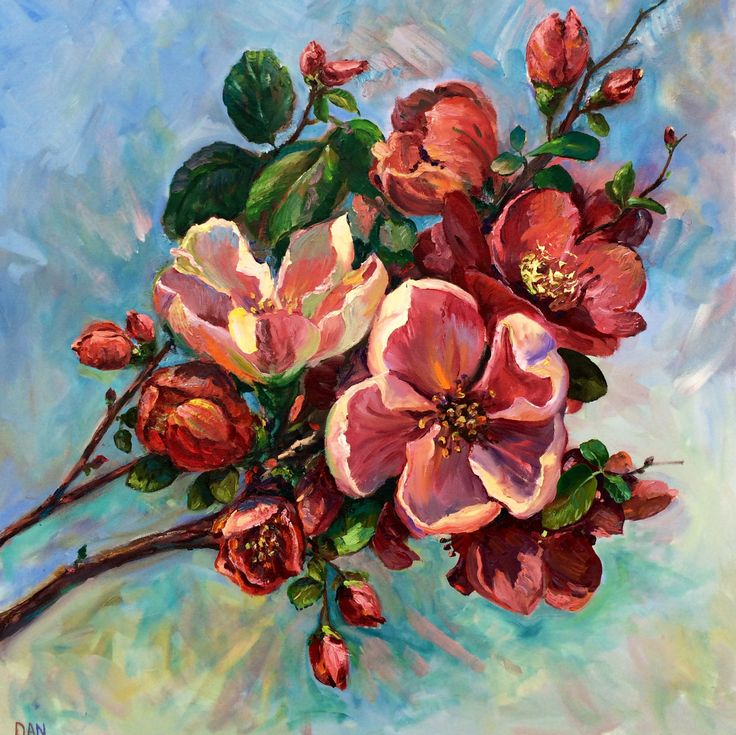 quince flowering oil on canvas 36x36 in