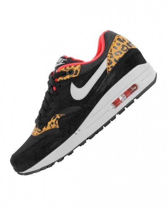 Nike Air Max 1 Leopard Print Hot Punch Womens Black Orange Beige Trainers
