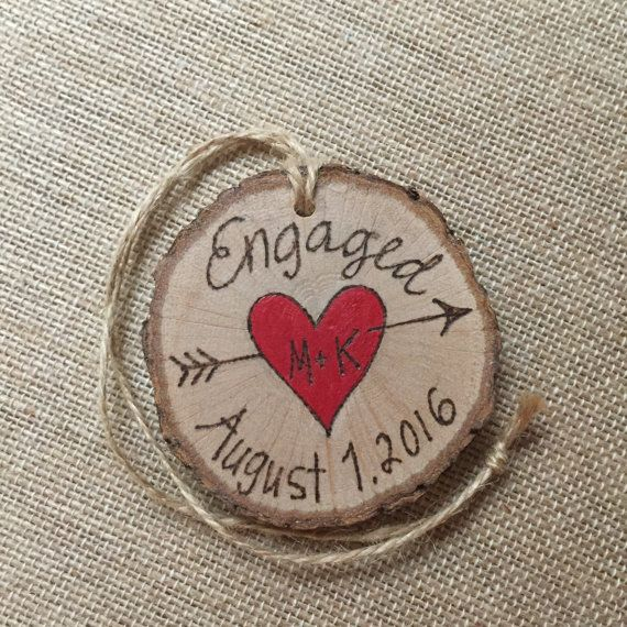 Engagement ornament, personalized  wood Christmas ornament, heart with initials, wood burning ornament, holiday ornament, couples ornament