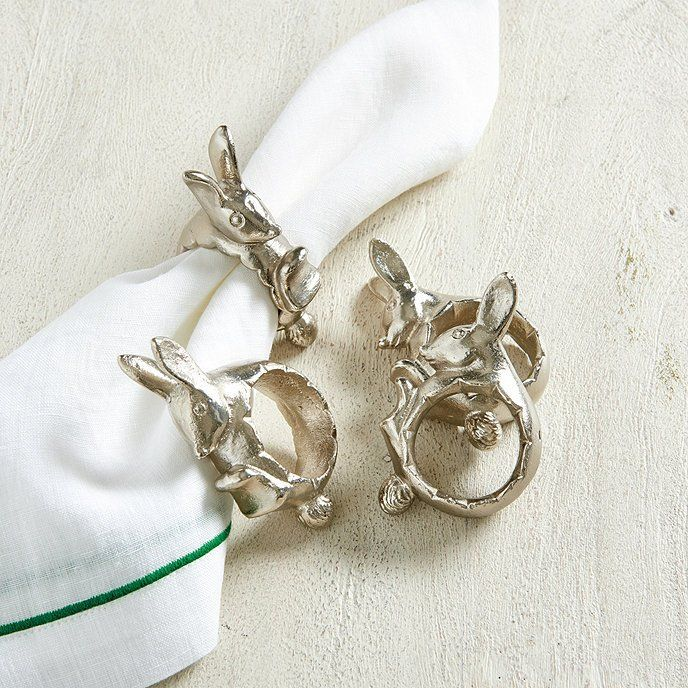 Lilly Bunny Napkin Rings Set Of 4 Ballard Designs Napkin Rings Bunny Napkins Easter Napkins Rings