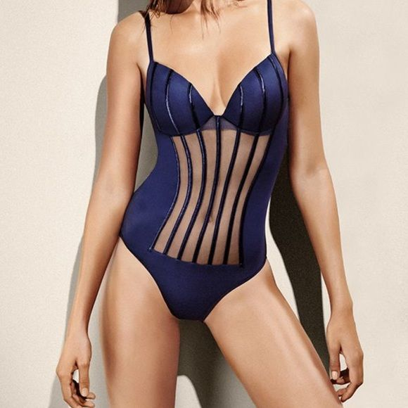 LA PERLA one piece swimsuit LA PERLA FARBE - BLAU - BL0061 GRAPHIQUE COUTURE BADEANZUG SIZE 12 La Perla Swim One Pieces