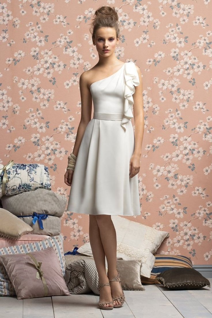 94 best bridesmaid dresses images on pinterest dress maxis and ivory satin chiffon a line one shoulder knee length bridesmaid dress from mybridesmaid creates a perfect fit for the bridesmaid and makes them look elegant ombrellifo Image collections