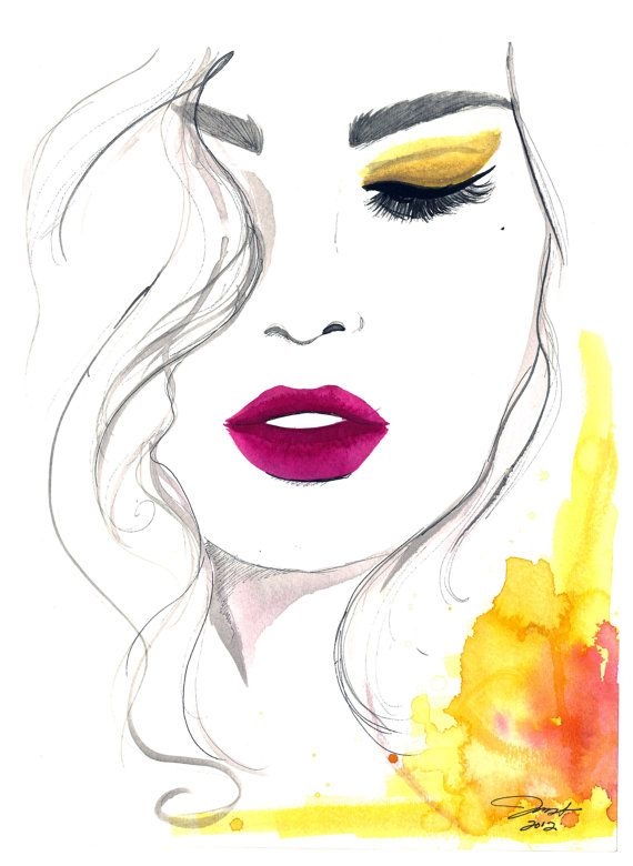 The Fuchsia Lip, #watercolor #illustration by Jessica Durrant