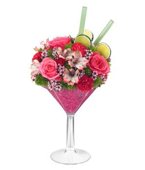 A unique Valentine's Floral Martini with pink roses, $39.99