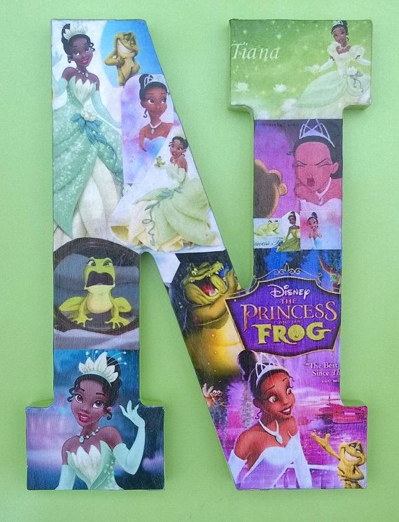 Tiana Party Princess And The Frog Letter Collage Disney Princess Art Wall Art Wall Haning Nursery Decor Kids Room Decor Baby Girls Room