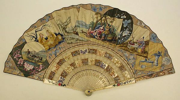 Fan Date: 18th century Culture: probably European Medium: paper, paint Dimensions: Length: 11 1/2 in. (29.2 cm) Credit Line: Gift of Miss Agnes Miles Carpenter, 1955