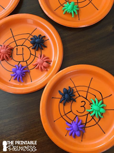 """Spiders in a Web: A cute counting game where students count the spiders and put them on the """"web"""" (paper plate)."""