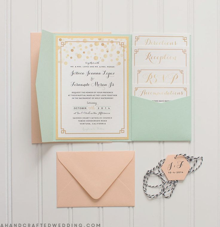 Modern Gold + Mint DIY Wedding Invitations | ahandcraftedwedding.com