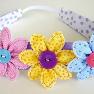 Flowers, Leaf & Narrow Headband Pattern by Precious Patterns hair band Downloadable PDF Sewing Patterns E Pattern to Sew DIY AllegroDigiPatterns and AllegroFabrics. Download now!