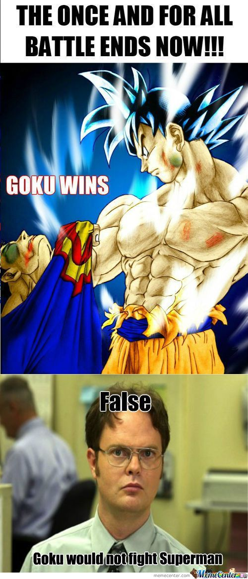 pin by animated times on 27 savage goku vs superman memes that will