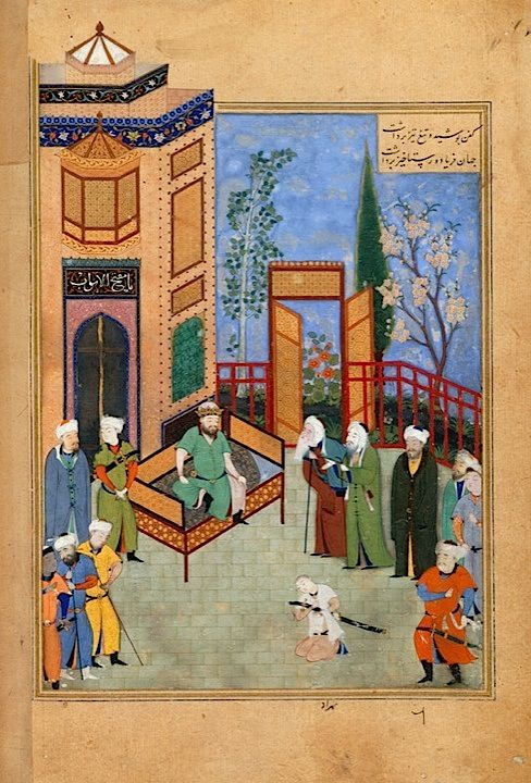 From the story of ʻKhusraw and Shirin'. The elders plea with King Hormuzd to forgive his son Khusraw. Ascribed to Bihzad