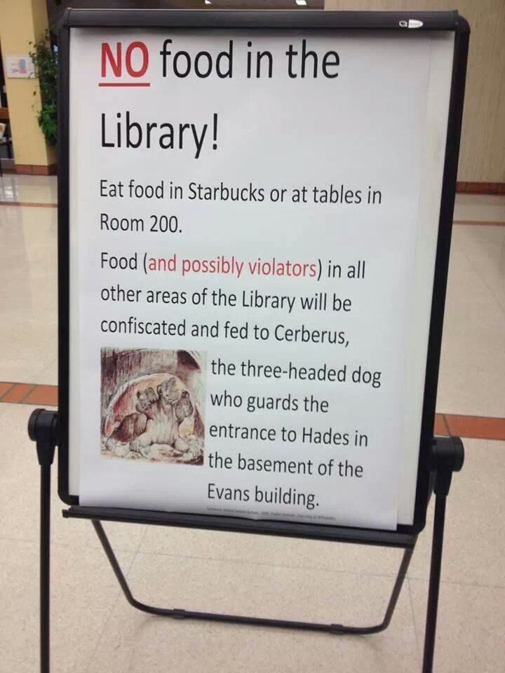 No food in the library funnies books libraries