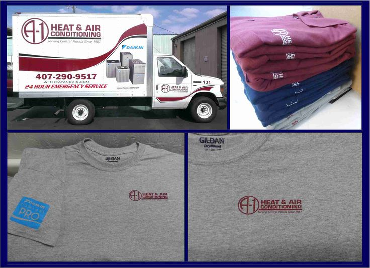 A1 Heat & Air. Printed tees, Embroidered polos and Vehicle Lettering.