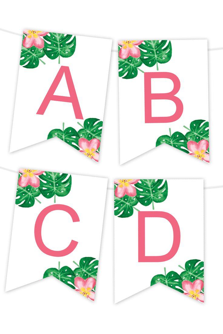 Tropical Palm Printable Banner Printable Banner Template Printable Banner Birthday Banner Free Printable