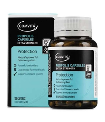 Comvita® Propolis contains a range of bioflavonoids, which are known for their antioxidant properties.  Created by bees from the natural resin produced by trees as part of their defence system.  Honeybees collect the resin, mix in beeswax and enzymes, and use it to protect the hive.