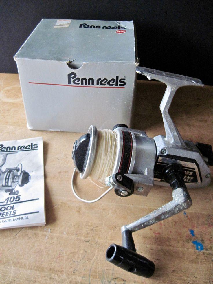 Vintage Fishing Reel, Penn Fishing Reel, Penn Reels, Old Fishing Reel, Cabin Camp Decor, Man Cave, Skirted Spool Spinning Reel, Penn 105 by RushCreekVintage on Etsy