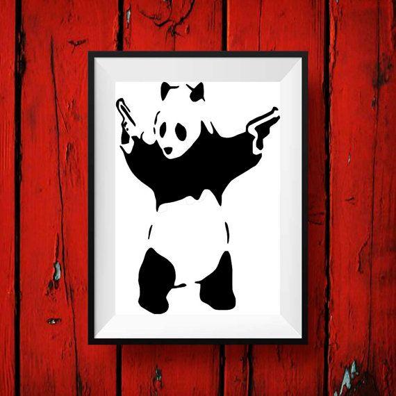 Banksy print - Banksy Panda street art,graffiti,stencil wall art decor poster print