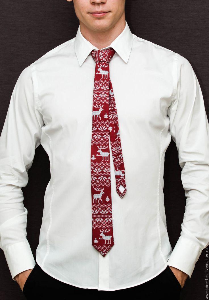 Купить Новогодний галстук 'Олени', Новогодний подарок 2017 - бордовый, ярко-красный, новогодний подарок