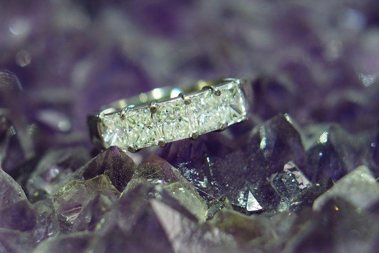 VS1 Princess Cut Diamonds that are prong set in this ladies wedding band 14k #diamonds #rings #engagement #prestige