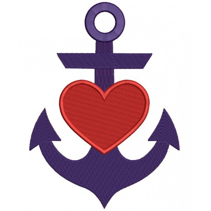 Anchor With Heart Marine Filled Machine Embroidery Design