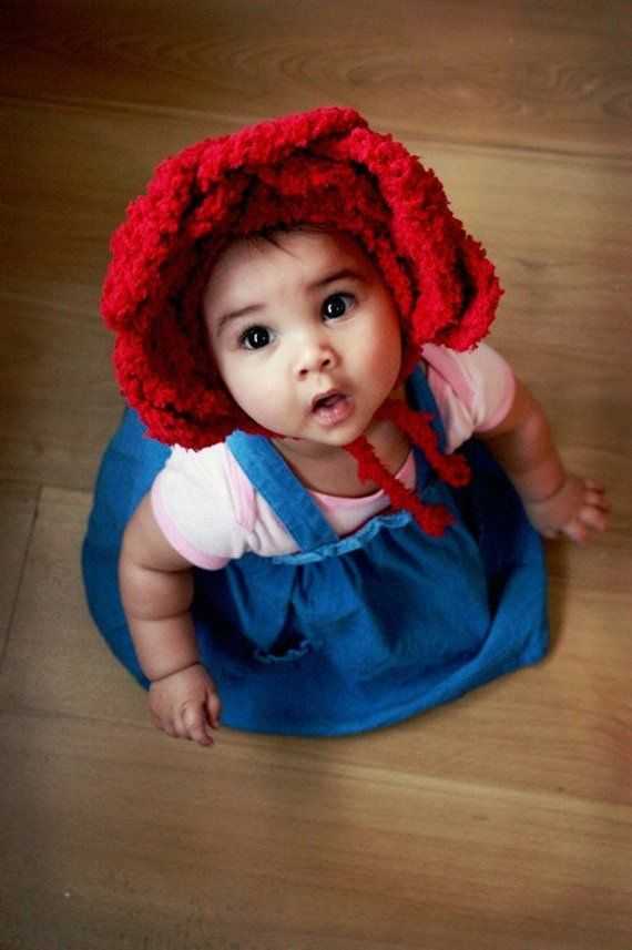 16b0ef13f71f 12 to 24m Red Rose Baby Flower Bonnet