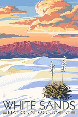 White Sands National Monument, New Mexico - Sunset Scene - Lantern Press Poster