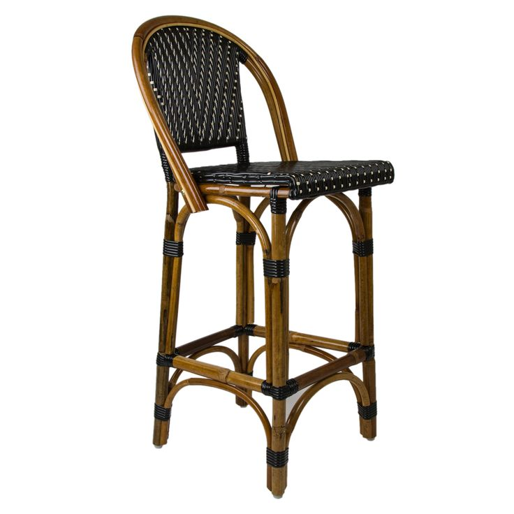 """Black & Cream Mediterranean Bistro Bar Stool with Back (26"""" h. seat) These rattan-framed bar stools with backs are part of the iconic French bistros of Le Midi, or the south of France. Hand-woven and artisan crafted, these French style bistro stools in bright synthetic material, will add a pop of color to your outdoor or indoor space."""