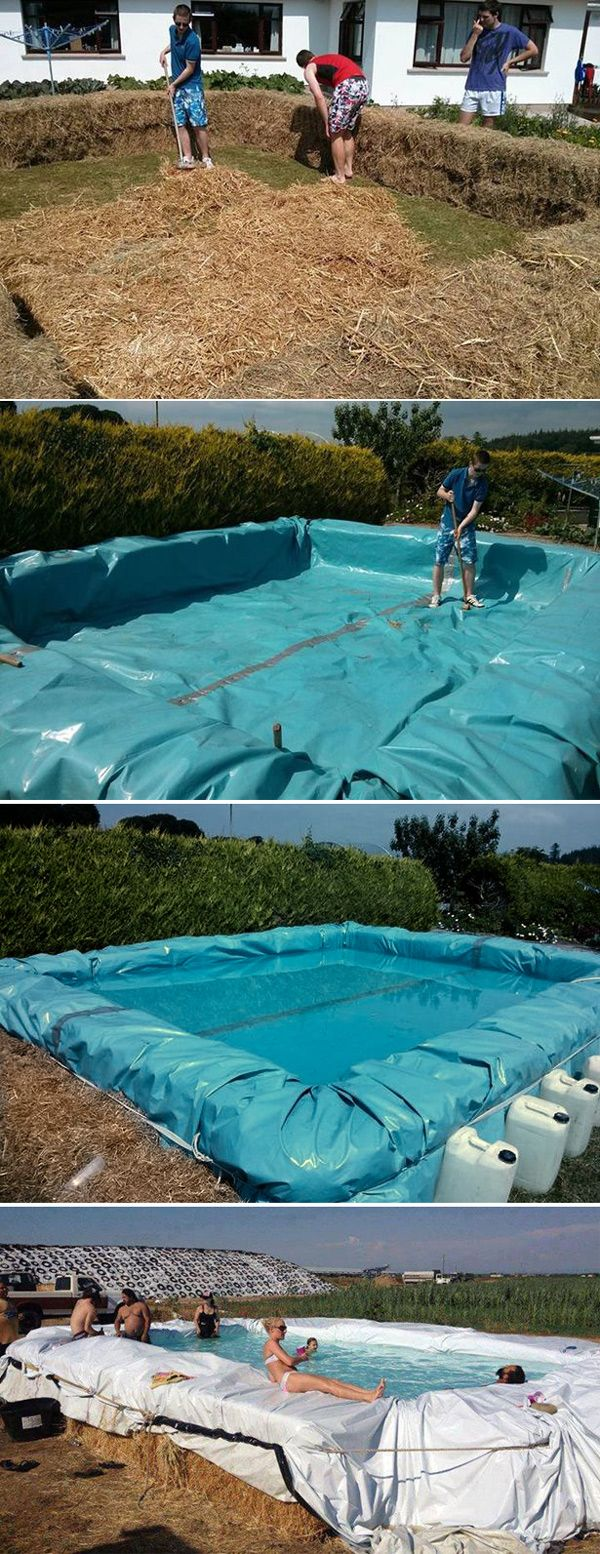 Swimming pool from bales of hay