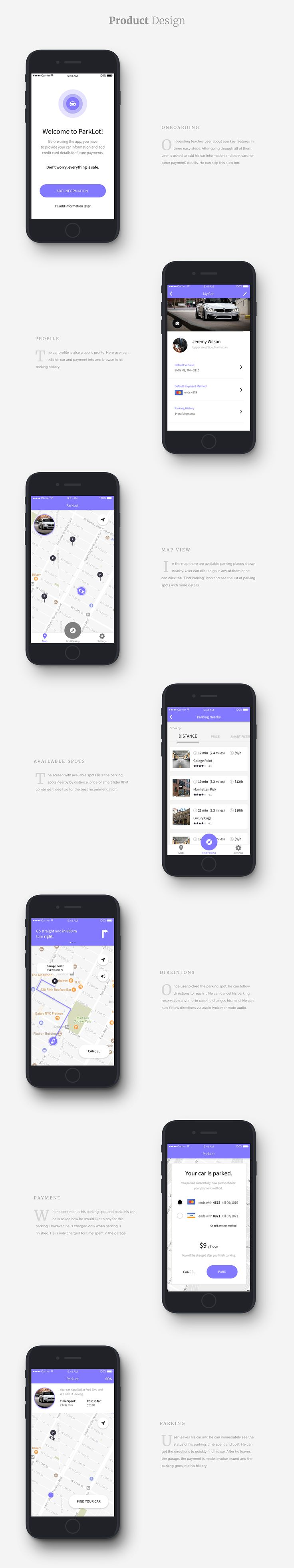 ParkLot NYC on Behance Interactive design, App design