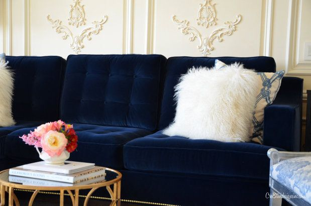 Blue Velvet Tufted Sofa I M Drooling Interiors