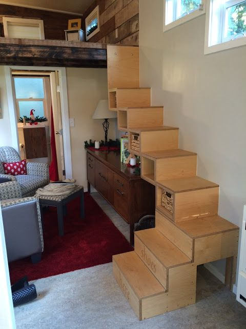 My Empty Nest: A Letter To My Tiny House - I love that the LR area looks like a LR area and mostly I love these stairs. Great for seniors!  Good design.