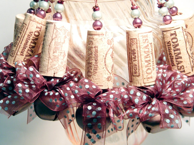 Ten Brown sheer with blue dots Recycled Corkament Christmas Ornaments. $20.00, via Etsy.