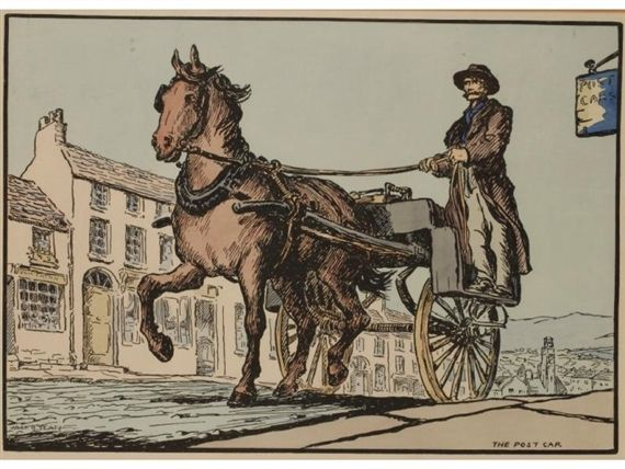 Jack B. Yeats - (2) The Post Car, hand-coloured...