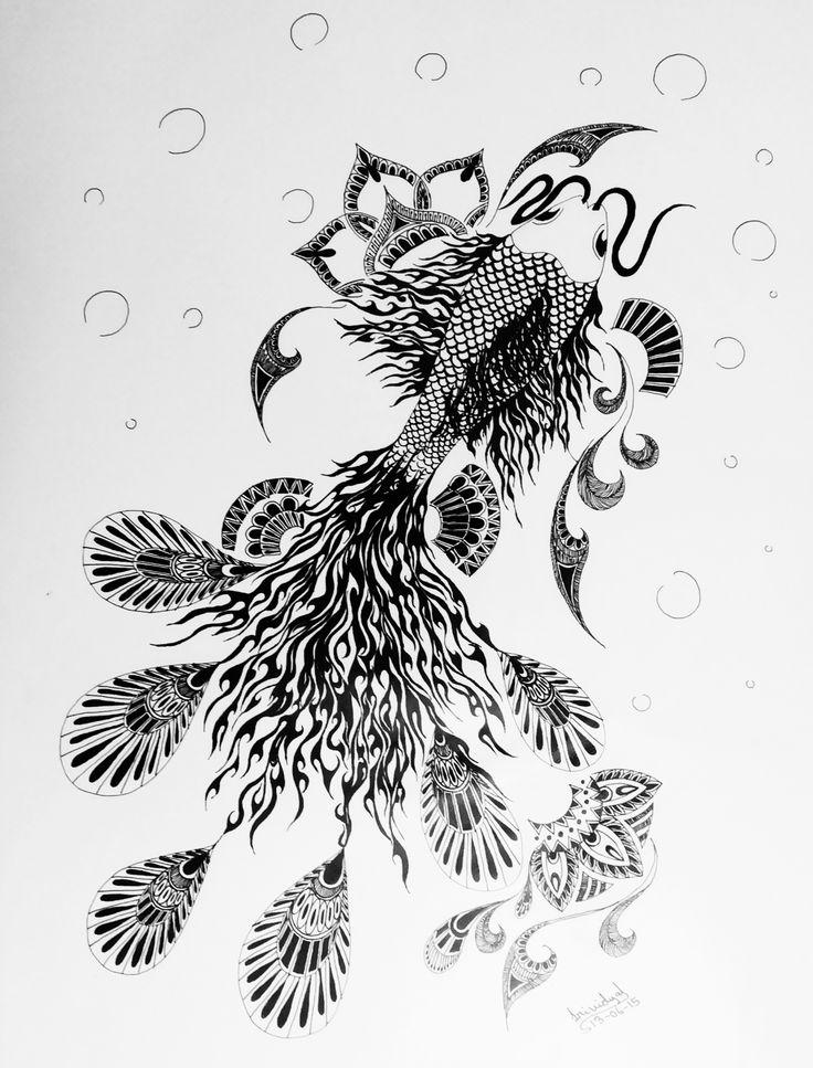#koi fish #inkart by #srividyaSuddapalli