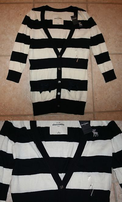Sweaters 51582: Nwt Abercrombie Girls Xl Black White Striped Button Front Sweater -> BUY IT NOW ONLY: $44.99 on eBay!