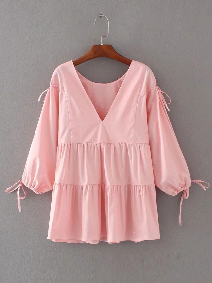 Shop Tie Detail V Back Blouse online. SheIn offers Tie Detail V Back Blouse & more to fit your fashionable needs.