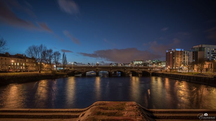Glasgow river clyde at night. It's the 8th longest river in the United Kingdom and the 2nd in Scotland.