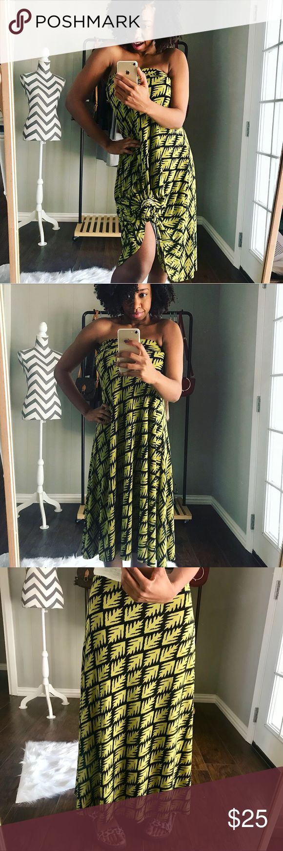 LuLaroe Leaves Maxi What a sassy skirt by Lularoe! I love the versatility I can get out of this skirt. Wear it as a flowy dress or as a maxi. Has the yoga foldable waistband so you can even wear short. Even though this is a xxs, it stretches and can fit me. I typically wear a small or size 6. LuLaRoe Skirts