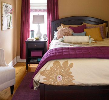 What a nice color scheme for a guest bedroom.  I love it. Fresh colors - plum and a warm tan.Colors Combos, Decor Ideas, Shades Of Purple, Bedrooms Colors, Color Schemes, Guest Bedrooms, Colors Schemes, Beds Frames, Guest Rooms
