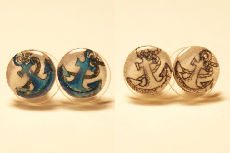 Small Anchor Pair of Stud Earrings. $10.00, via Etsy.