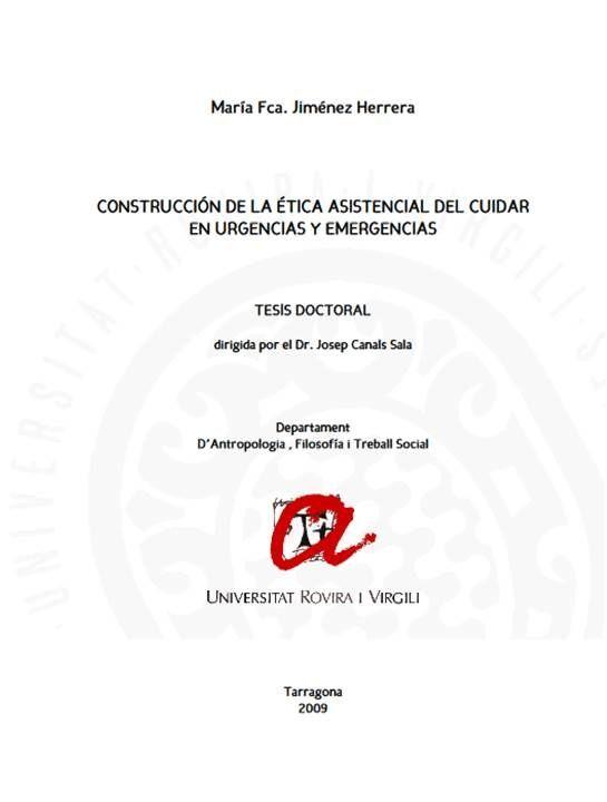 Acceso gratuito. Construcción de la Ética Asistencial del Cuidar en Urgencias y Emergencias