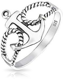 Bling Jewelry 925 Sterling Silver Nautical Rope Anchor Ring.