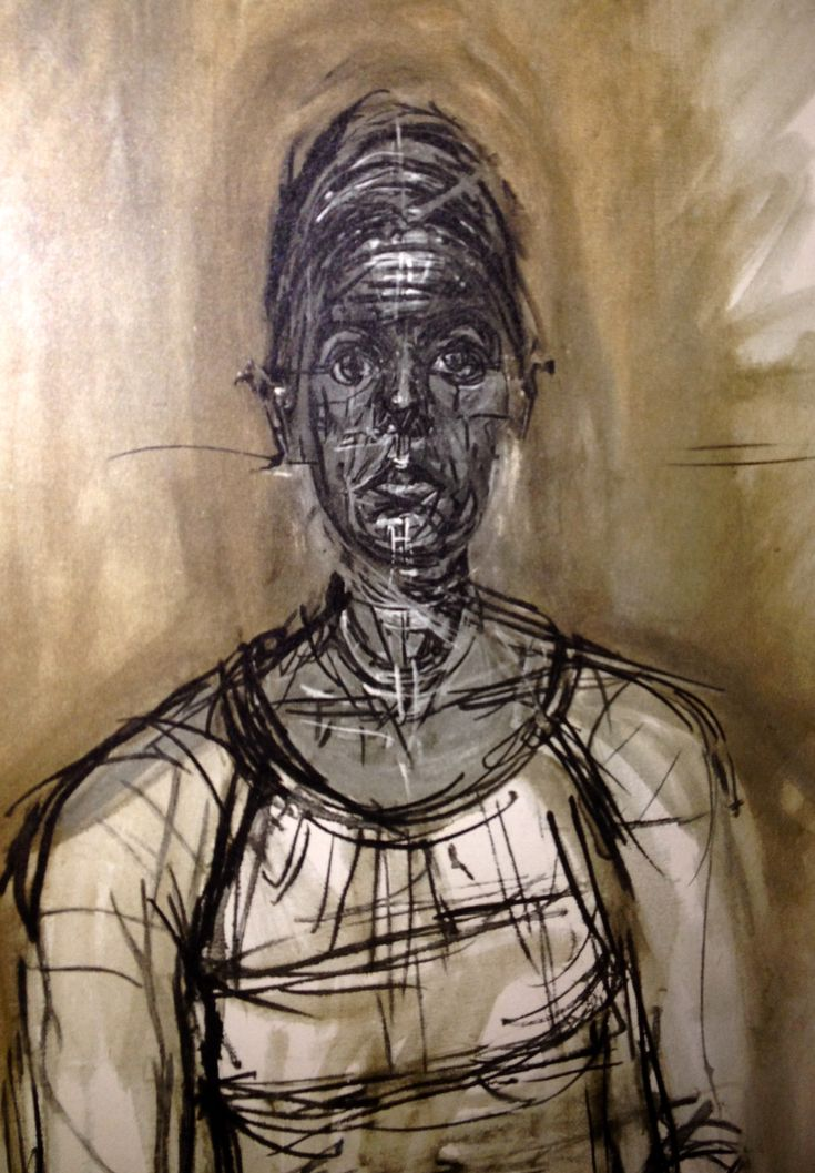 Alberto Giacometti. Print of model Caroline - 1965. Most likely painted in oil paints. Very similar to his piece Giorgio Soavi, with the geometric circles and lines. The lack of expression on her face and the dull brown and beige colours he has used makes the painting very sad to look at, with your eyes being drawn directly to hers giving the painting great depth especially with the contrast of the light and dark colours.