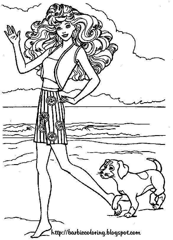 Barbie Dog Coloring Pages Sketch Coloring Page