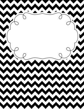 black and white chevron classroom calendar decor bundle editable