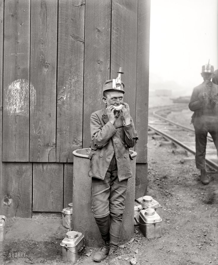 "Working Lunch: Kingston, Pennsylvania, circa 1900. ""Breaker boy, Woodward coal mines."" 8x10 inch dry plate glass negative, Detroit Publishing Company."